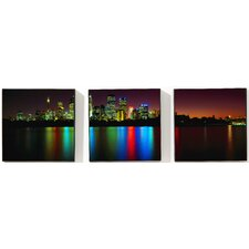 "City Reflections  Printed Box Art Canvas - 8"" X 24"" (Set of 3)"