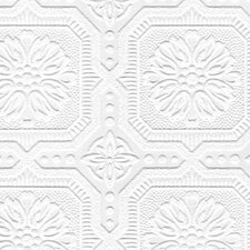Paintable Damask Embossed Tiles Wallpaper