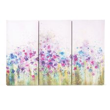 "Watercolor Meadow  Printed Canvas Art - 24"" X 35"" (Set of 3)"