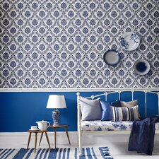 Hermitage 56 Sq Ft Costello Damask Wallpaper