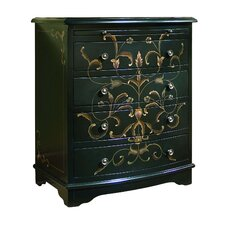 Artistic Expression Hand Painted 4 Drawer Accent Chest