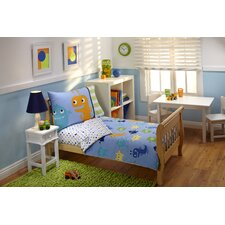 4 Piece Monsters Toddler Bedding Set