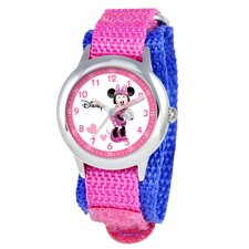 Kid's Minnie Mouse Time Teacher Velcro Watch in Pink Nylon
