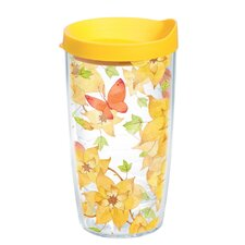 16 Oz. Wrap Yellow Flower Butterfly Tumbler (Set of 4)