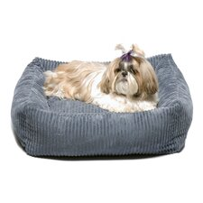 Plush Chenille Square Dog Bed in Blue