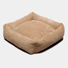 Plush Chenille Square Dog Bed in Coffee