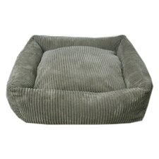 Plush Chenille Square Dog Bed in Loden
