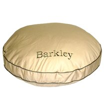 Twill Classic Round Dog Pillow with Sage Cording