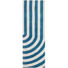 Tufted Pile Blue Geometric Rug