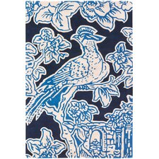 Tufted Pile Blue Toile Rug