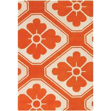 Tufted Pile Orange Obi Rug