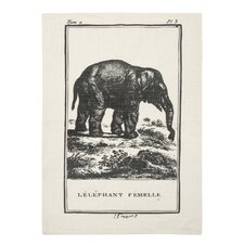 Vintage Engravings Elephant Clingancourt Tea Towel