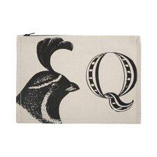 """Vintage Engravings Pictorial Alphabet """"Q"""" Pouch"""