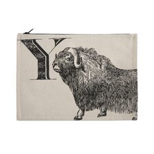 """Vintage Engravings Pictorial Alphabet """"Y"""" Pouch"""