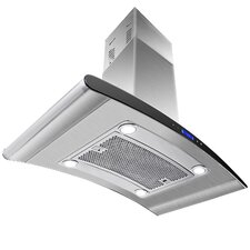 """36"""" 870CFM Stainless Steel Island Mount Range Hood with LED Touch Control"""