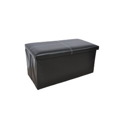 Large Faux Leather Ottoman With Stitching