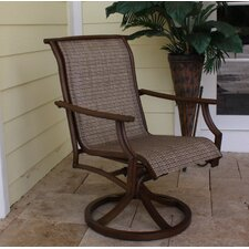 <strong>Hospitality Rattan</strong> Chub Cay Sling Patio Swivel Rocking Dining Chair