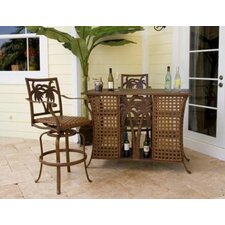 <strong>Hospitality Rattan</strong> Coco Palm Three Piece Home Bar Set