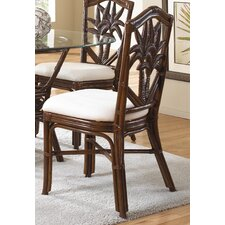 <strong>Hospitality Rattan</strong> Cancun Palm Dining Side Chair with Cushion