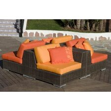 <strong>Hospitality Rattan</strong> Soho 4 Piece Sectional Deep Seating Group with Cushions