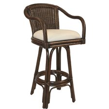 "Key West Indoor Rattan 30"" Swivel Bar Stool in Antique Finish"