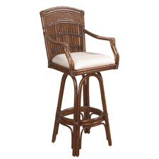 Polynesian Indoor Swivel Bar Stool with Cushion