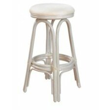 "Carmen Indoor Rattan 24"" Swivel Counter Stool in Whitewash Finish & Sunbrella Fabric"