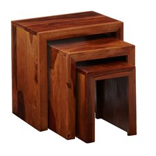 Cube Sheesham 3 Piece Nest of Tables II