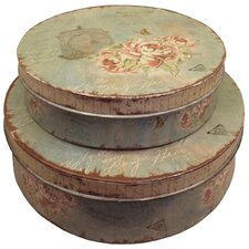 Gifts and Accessories Pretty Roses Storage Tins (Set of 2)