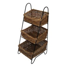 Vegetable Rack with Three Rattan Baskets