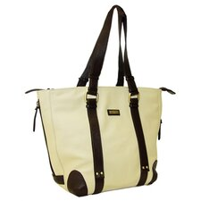 Virtue Medium Tote in Cream with Chocolate