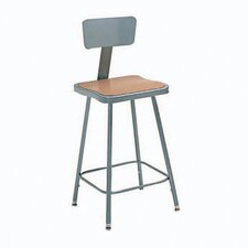 Height Adjustable Steel Hardboard Square Seat Stool with Backrest