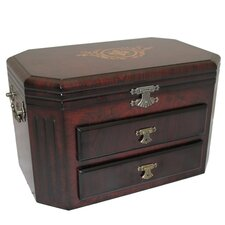 "Barcelona Classic 14"" Wooden Jewelry Armoire Box Chest"