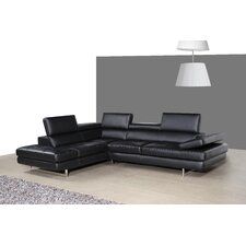 Italian Leather Sectional and Facing