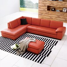Italian Leather Sectional in Left Hand Facing