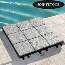"Jointstone Granite 12"" x 12"" Interlocking Deck Tiles in Dark Gray (Set of 6)"