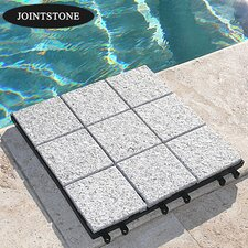 "Jointstone Granite 12"" x 12"" Interlocking Deck Tiles in Bright Gray"