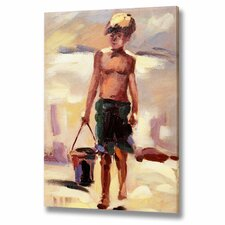 Boy with Bucket Canvas Art