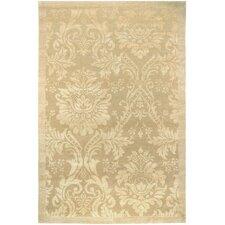 Impressions Gold/Light Brown Antique Damask Floral Area Rug