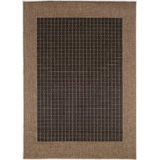 Recife Checkered Field Black Cocoa Indoor/Outdoor Area Rug I