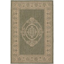Recife Antique Medallion Green/Natural Rug