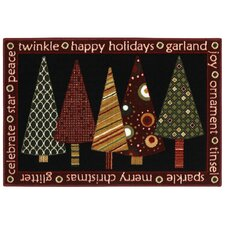 Home for the Holidays Twinkle Trees Novelty Rug