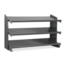 "Shelf Bin Bench Rack, 3-Shelves, 12""xx36-1/4""x25"", Gray"