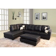 Della Left Chaise Sectional with Storage Ottoman I