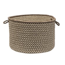 Natural Wool Houndstooth Storage Basket