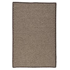 Natural Wool Houndstooth Espresso Braided Rug