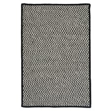 Outdoor Houndstooth Tweed Black Rug