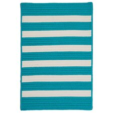 Stripe It Turquoise Indoor/Outdoor Rug