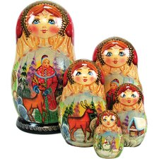 <strong>G Debrekht</strong> Russia 5 Piece Snow Maiden Nested Doll Set
