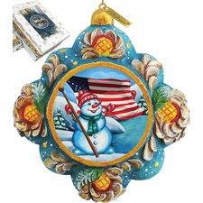 Patriotic Snowman Ornament